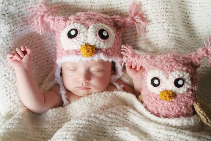 Pink owl hat and doll