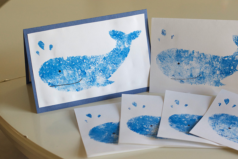 How to Make Easy Stencilled Whale Cards