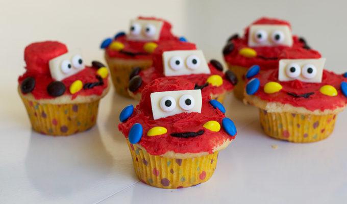 Disney Inspired Lightning McQueen Cupcakes