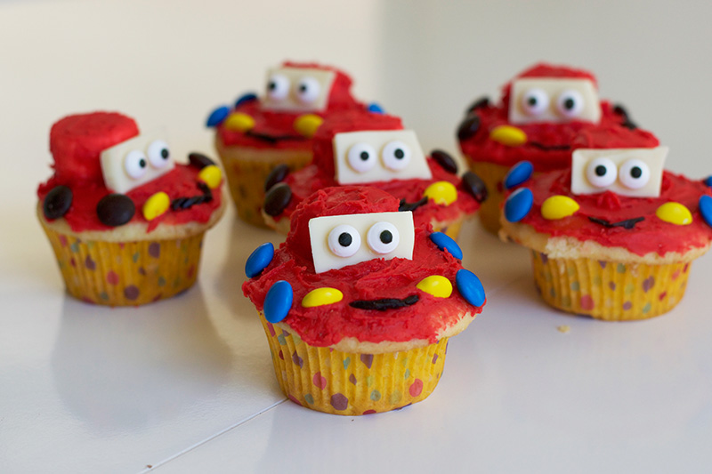 Disney Inspired Lightning McQueen Cupcakes Little Fish