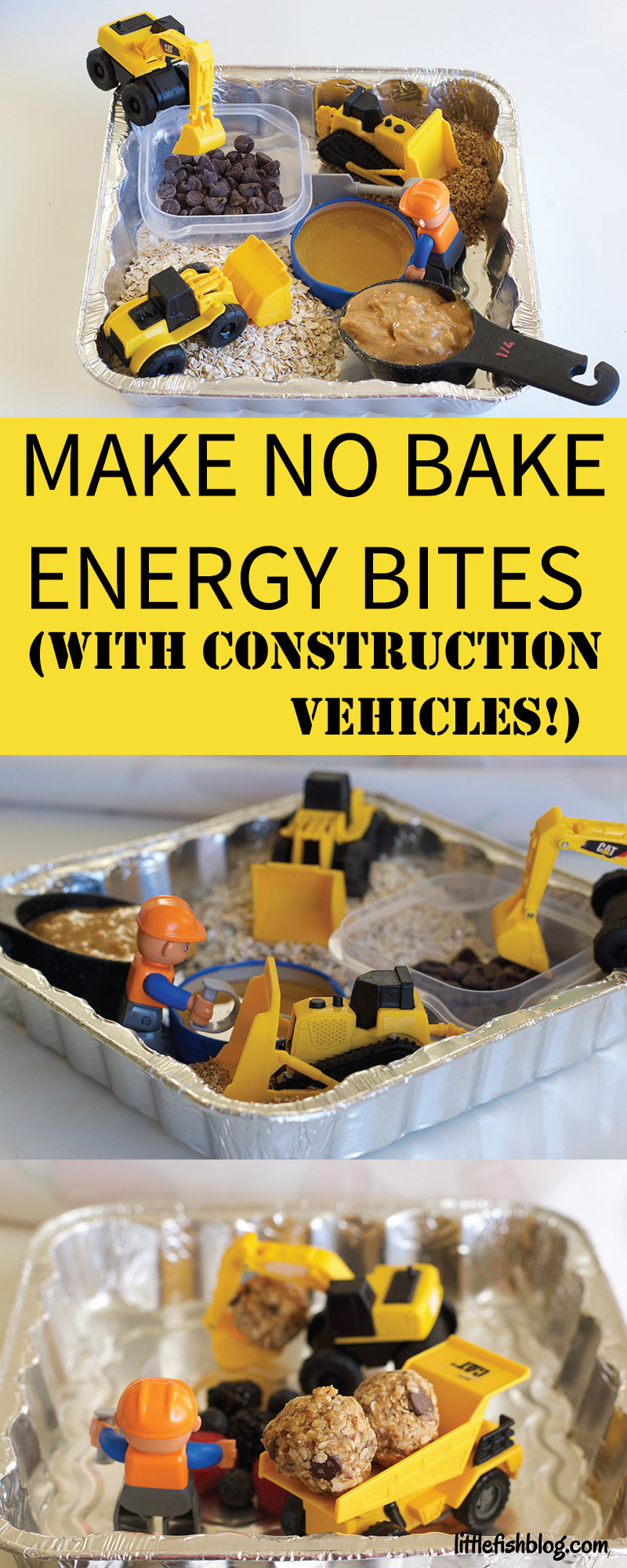 invitation to make no bake energy bites using construction