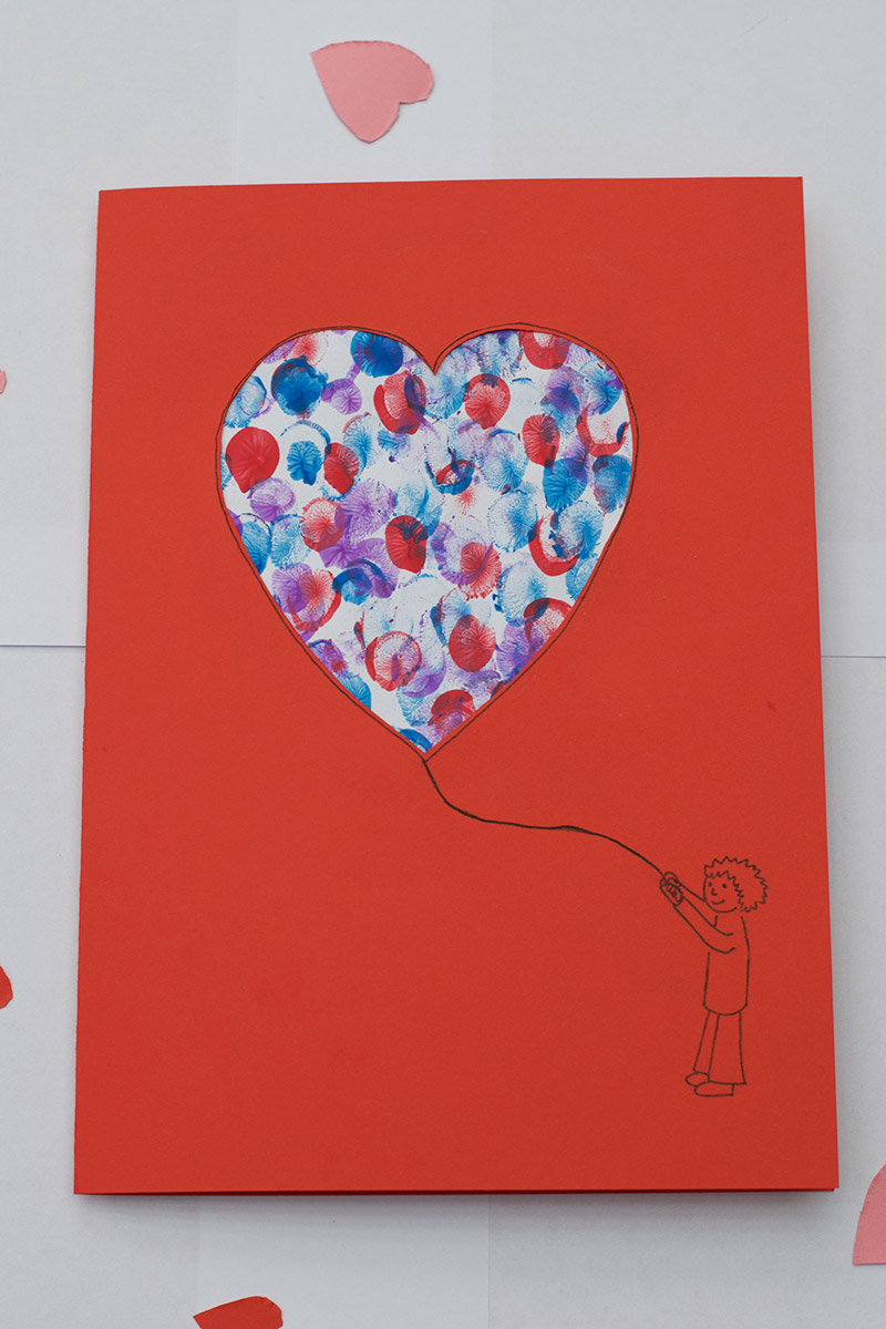 Easy Valentine Finger Paint Card