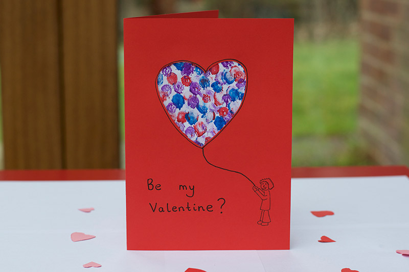 Easy Valentine Finger Paint Card Little Fish