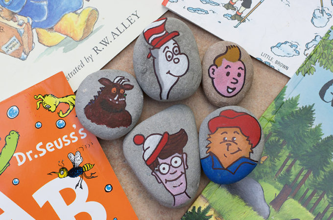 Close up of book character painted rocks