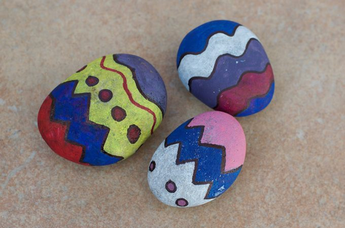 Funky Easter Egg Painted Rock Craft