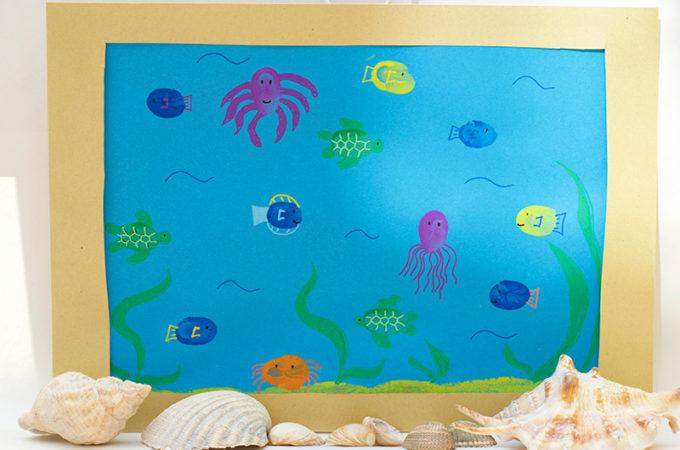 Finished Fun Finger Paint Aquarium Activity