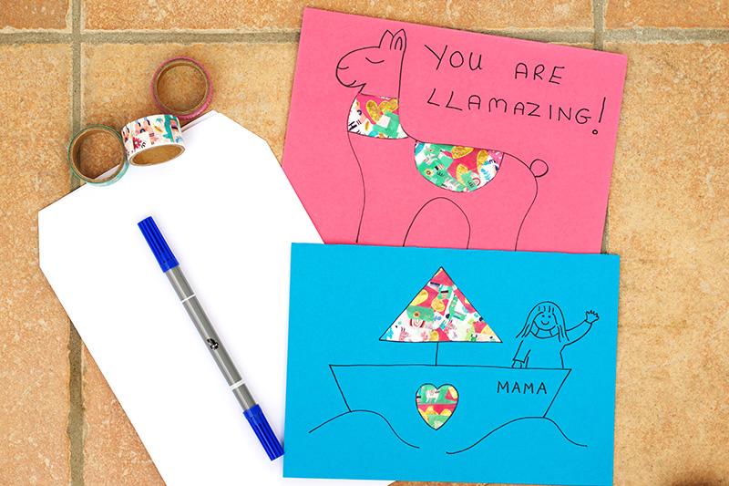 Llama and Boat Washi Tape Cards
