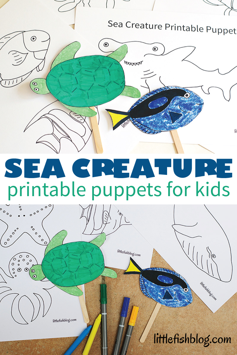 image relating to Printable Sea Creatures referred to as Sea Creature Adhere Puppets - with No cost Printable! - Minor Fish