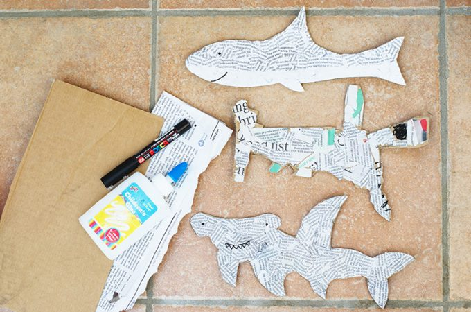Recycled Newspaper Shark Craft