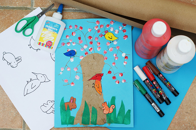 Woodland Animals Tree Collage - With Free Printable